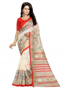 Print Bhagalpuri Silk Off White  Casual Saree