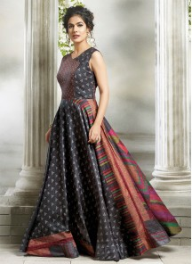 Print Work Cotton Multi Readymade Stich  Gown