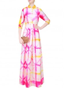 Designer Pink Yellow Shades Print Long Kurti