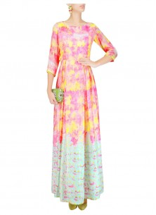 Pink And Yellow Digital Print Long Kurti