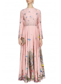 Bird Flying Peach Digital Print Gown