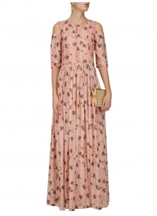 Print Peach  Party Wear Kurti