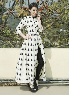 Beautiful White Black Cut Long Kurti