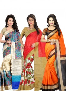 Printed Bhagalpuri Silk Pack of 3 Combo