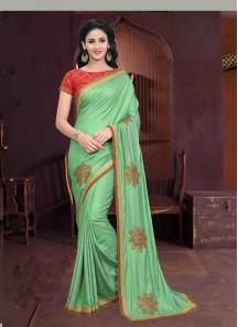 Pristine Green Embroidery Work Chiffon Classic Saree