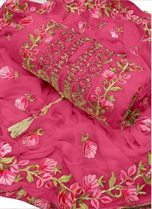 Pristine Pink Chanderi Cotton Embroidered Designer