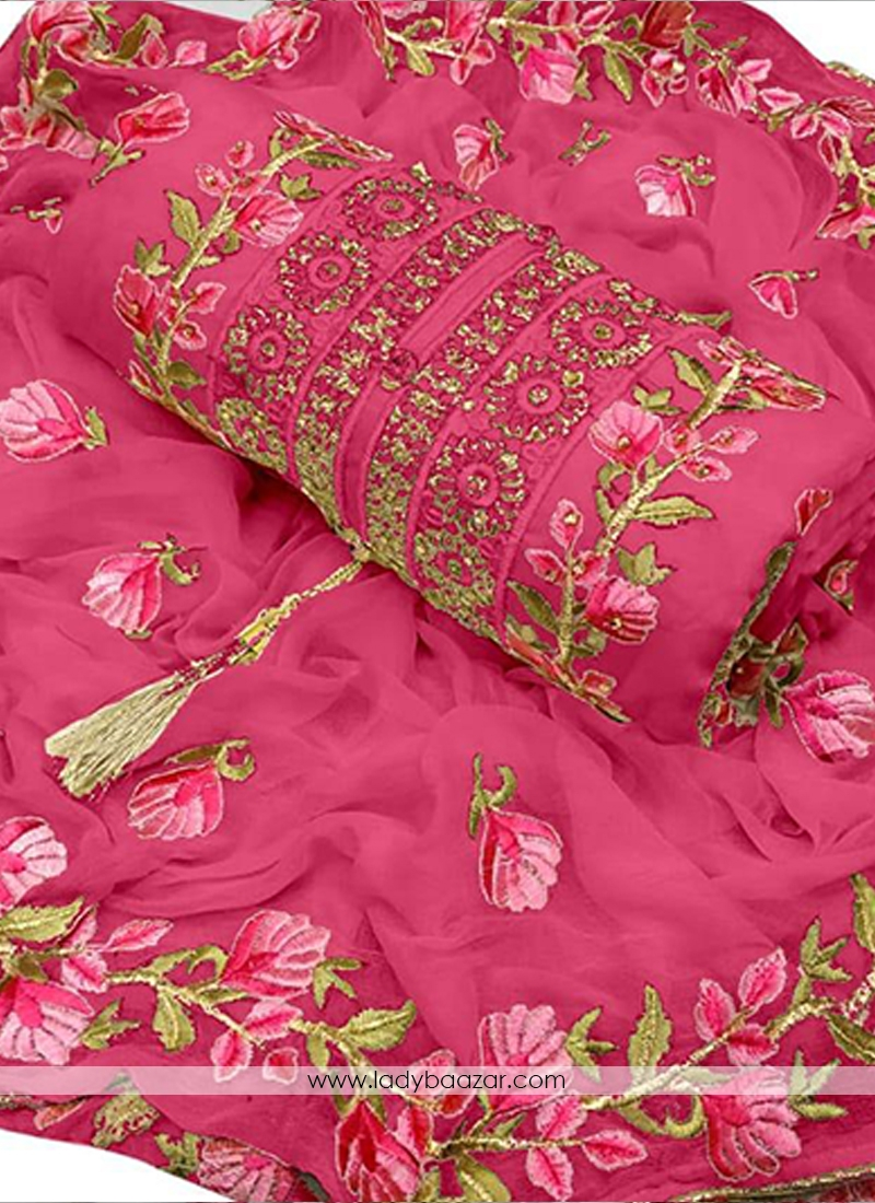 Pristine Pink Chanderi Cotton Embroidered Designer Dress Material