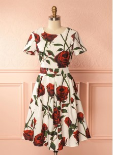Prodigious Crepe White With Red Rose Printed Weste