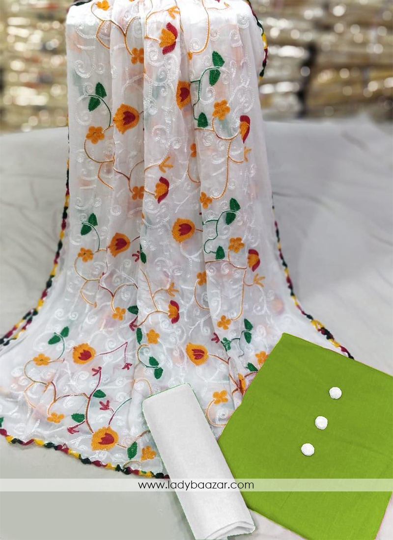 Prodigious Green And White Cotton Chickan Dress Material