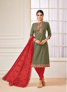 Prodigious Green Embroidery Work Salwar Kameez