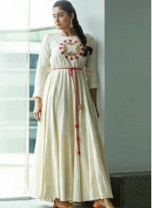 Prodigious Reyon Off-White With Embroidery Work Gown