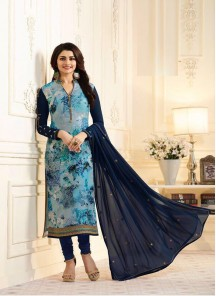 Prominent Blue Brasso Embroidery With Print Straught Suit