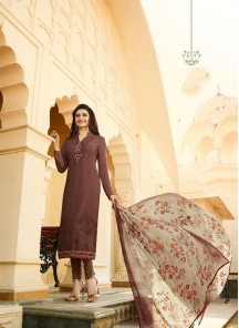 Prominent Brown Crepe Printed N Embroidery Salwar Suit