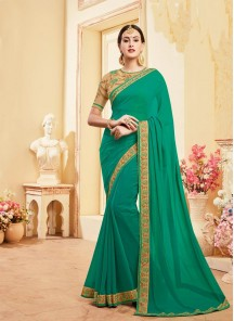 Prominent Faux Georgette Green Saree