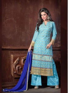 Prominent Georgette Turquoise Embroidered Work Des