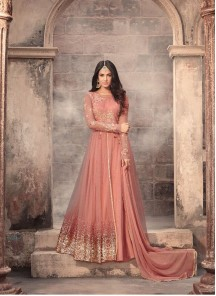 Prominent Orange Embroidery With Stone Work Heavy Net  Anarkali Suit