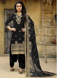 Punjabi Suit Embroidered Faux Georgette In Black