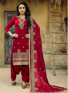 Punjabi Suit Embroidered Faux Georgette In Maroon