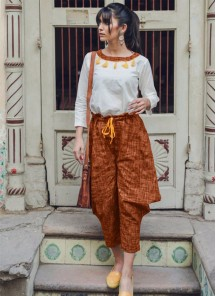 Pure Khadi White Brown Top And Brown Bottom Set