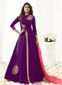 Purple Banarsi Floor Length Anarkali Suit