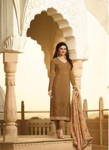 Radiant Crepe Embroidery Work Churidar Suit