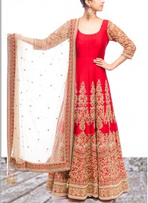 Radiant Embroidered Work Net Red Anarkali Salwar Kameez