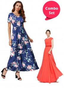 Radiant Gorgette & Topnotch Blue Cotton Twill Western Gown - Pack of 2
