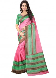 Radiant Green With Pink Bhagalpuri SIlk Casual Saree