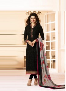 Ravishing Black Embroidery Work Georgette Salwar Kameez