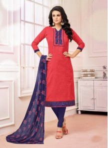 Ravishing Blue With Orange Cotton Salwar Kameez