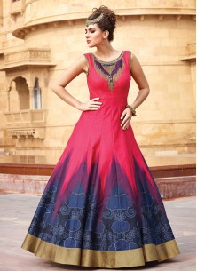 Red And Blue Banglori Silk Pure Hand Work Stitched