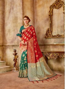 Red And Green Banarasi Silk Festival Traditional Designer Saree