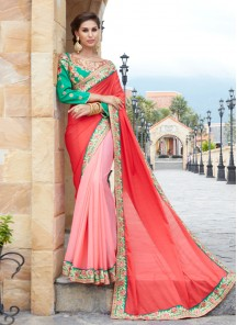 Red  Bamber Silk  Embroidery Saree