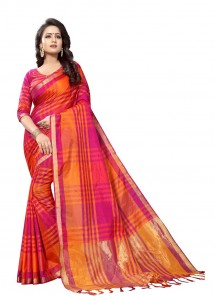 Red Coton Silk Printed Casual Saree