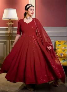 Red Designer Anarkali Suit In Georgette With Lucknowi Chikankari Embroidery Work