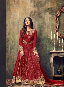 Red Net Embroidered Work Floor Length Anarkali Suit