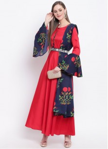 Red Silk Bell Sleeves Designer Gown With Printed Dupatta