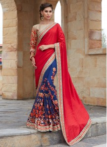 Red With Blue Banglori Silk With Georgette  Embroidery Saree