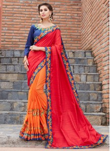 Red With Orange bamber Silk Valvet Work Saree