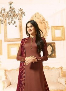 Refreshing Brown Embroidered With Stone Work Designer Palazzo Suit