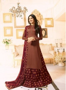 Refreshing Brown Embroidered With Stone Work Desig