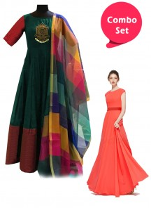 Refreshing Gorgette & Embroidery And Mirror Work With Cotton Silk Dupattai Gowns - Pack of 2