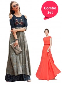Refreshing Gorgette Gown & Cotton Reyon Printed Long Dress - Pack of 2