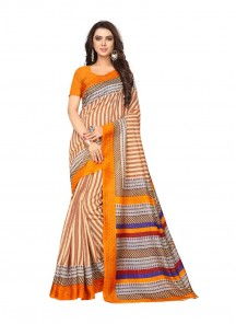 Regal Orange Bhagalpuri Silk Printed Saree