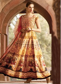 Remarkable Bhagalpuri Silk Digital Print Anarkali Suit