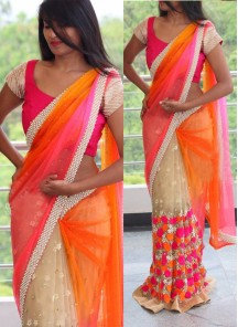 Remarkable Hand Embroidery Net Designer Saree