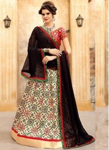 Remarkable Jacquard Silk Cream With Red Lehenga Choli