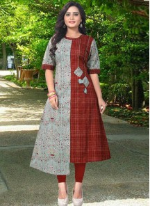 Renowned Rayon Multi Colour Print Work Kurti