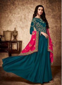 Resplendent Teal Resham Floor Length Anarkali Suit