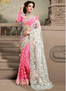Riveting  Net With Georgette Embroidery Work Pink Saree